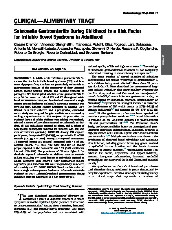 PDF) Salmonella Gastroenteritis During Childhood is a Risk