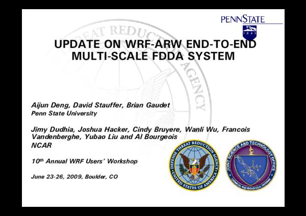 PDF) 1 9 UPDATE ON WRF-ARW END-TO-END MULTI-SCALE FDDA