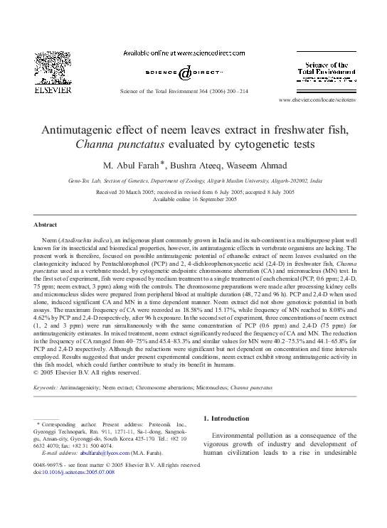 PDF) Antimutagenic effect of neem leaves extract in freshwater fish