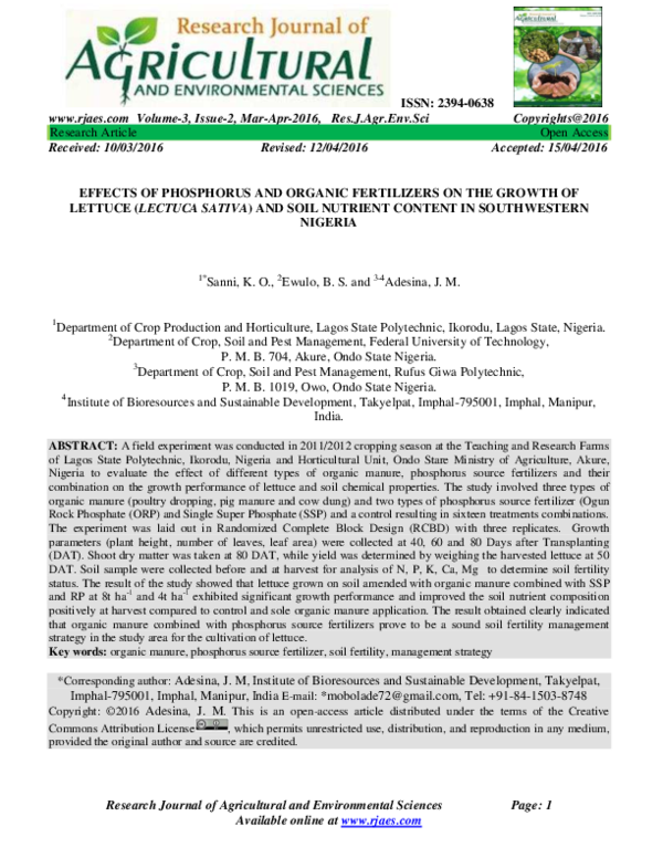 PDF) EFFECTS OF PHOSPHORUS AND ORGANIC FERTILIZERS ON THE GROWTH OF