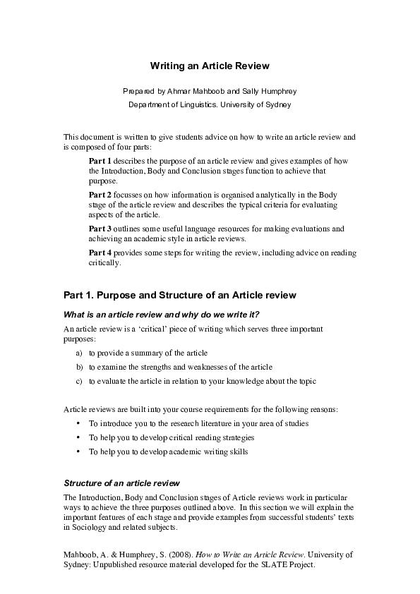 article review writing sample pdf