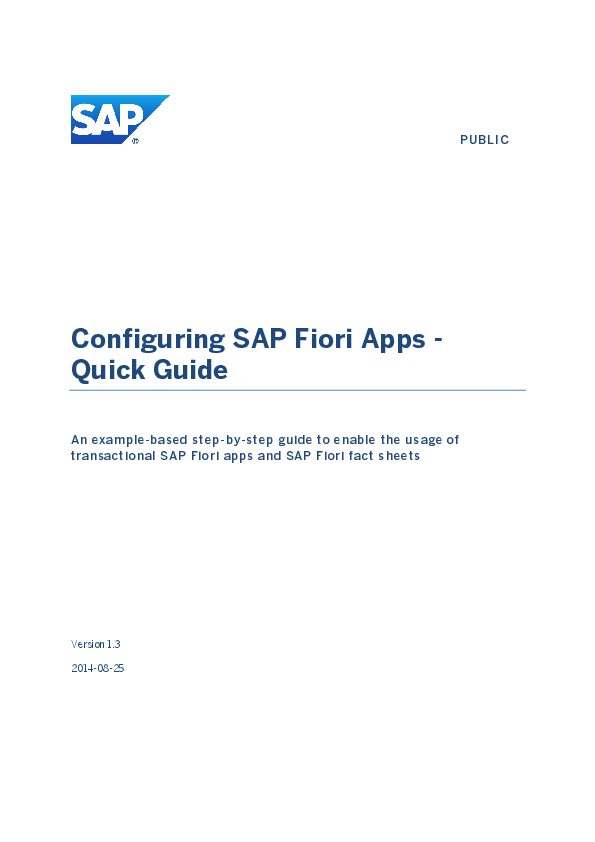 PDF) Configuring SAP Fiori Apps - Quick Guide An example