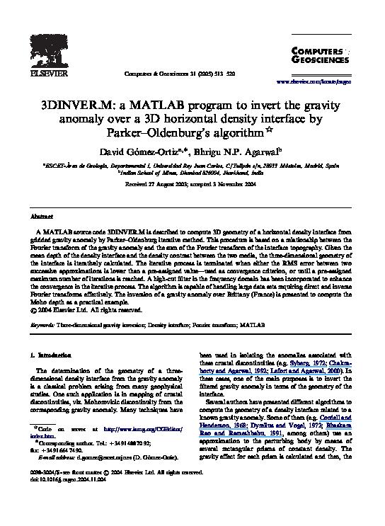 PDF) 3DINVER M: a MATLAB program to invert the gravity