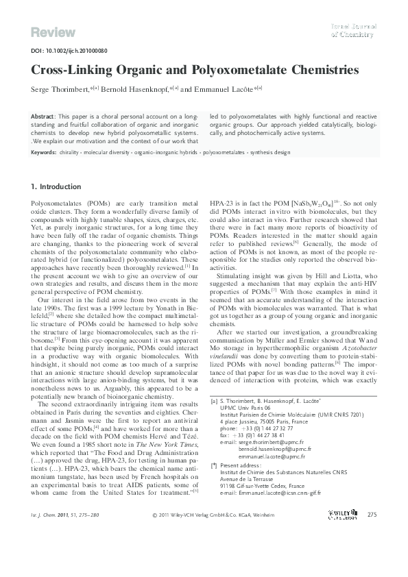 PDF) Cross-Linking Organic and Polyoxometalate Chemistries | Serge