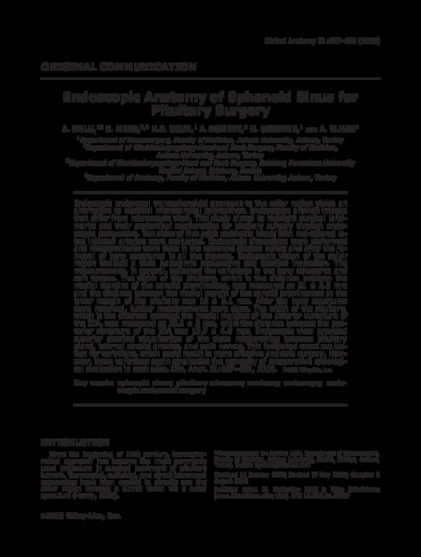 Endoscopy Department: (PDF) Endoscopic Anatomy Of Sphenoid Sinus For Pituitary