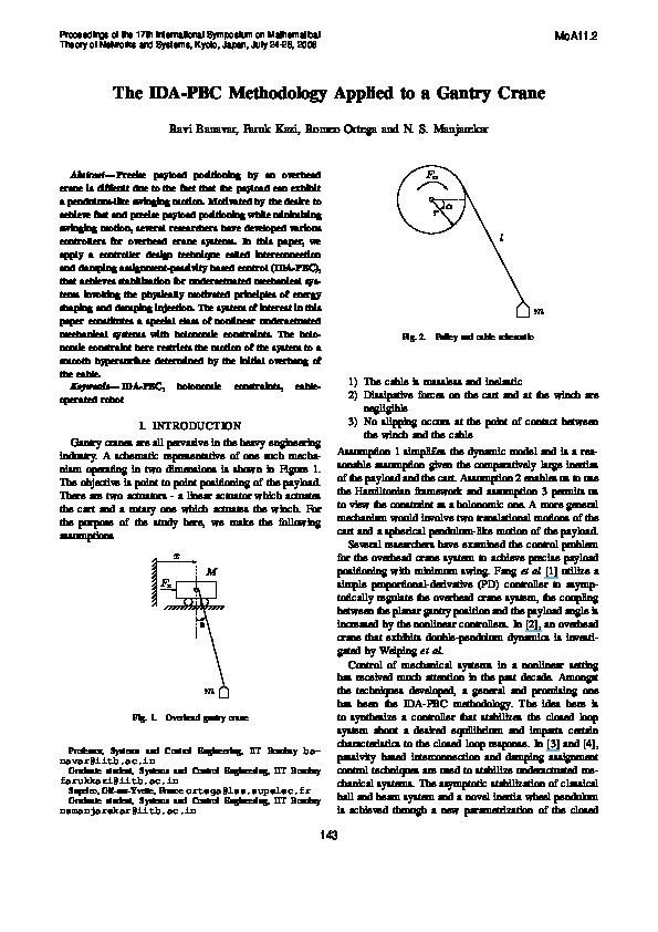 PDF) The IDA-PBC Methodology Applied to a Gantry Crane | Ravi N