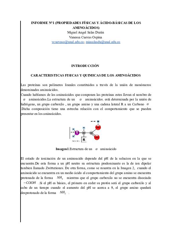 Doc Propiedades Fisicasy Acidobasicas De Los Aminoacidos