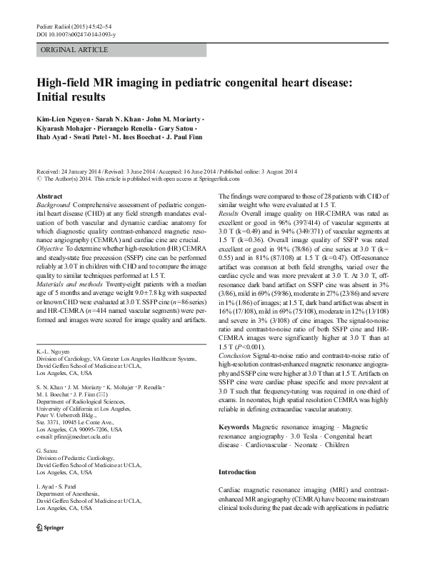 PDF) High-field MR imaging in pediatric congenital heart