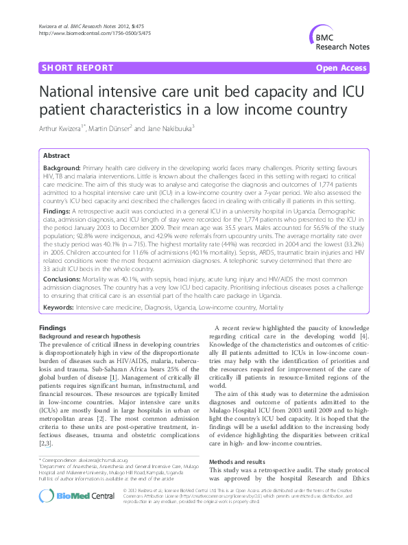 PDF) National intensive care unit bed capacity and ICU
