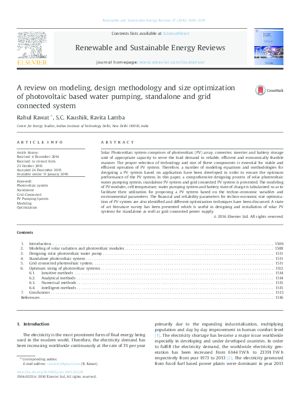 Pdf A Review On Modeling Design Methodology And Size Optimization Of Photovoltaic Based Water Pumping Standalone And Grid Connected System Dr Ravita Lamba Academia Edu