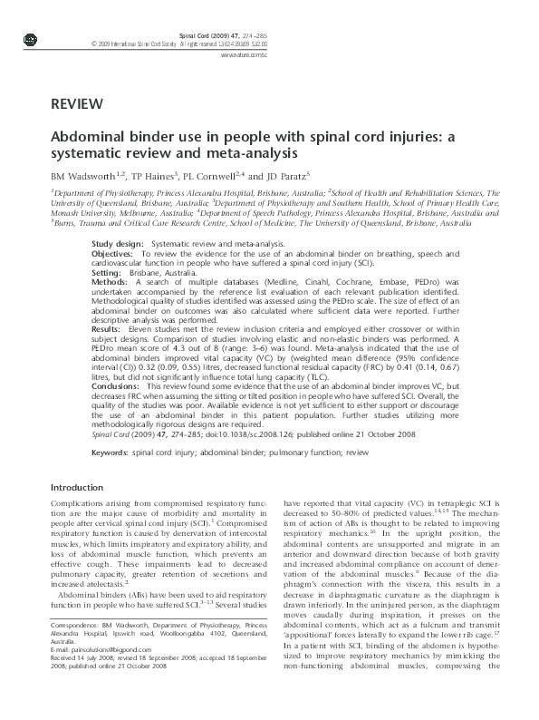 Pdf Abdominal Binder Use In People With Spinal Cord Injuries A Systematic Review And Meta Analysis Jennifer Paratz Academia Edu