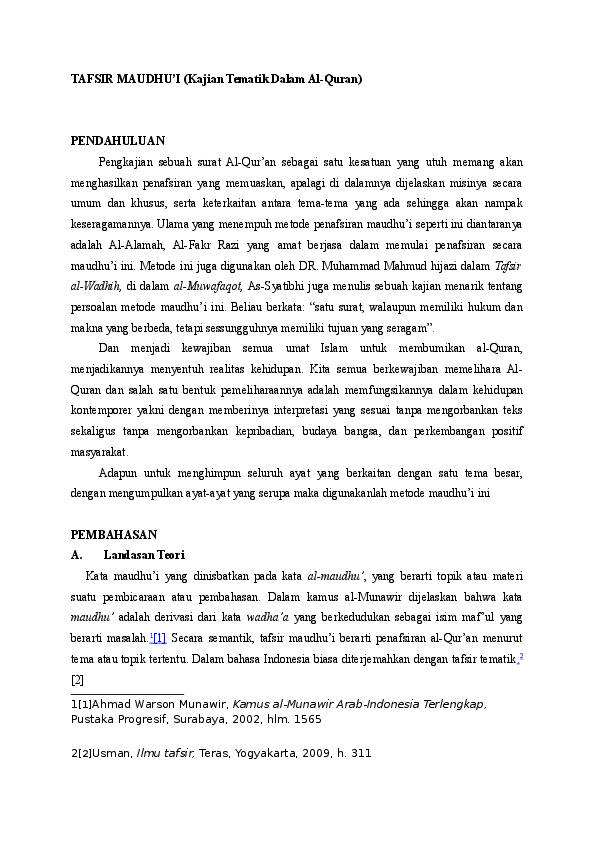 Tafsir Maudhu I Kajian Tematik Dalam Al Quran Syamsul Huda