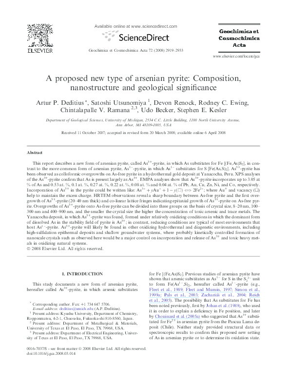 PDF) A proposed new type of arsenian pyrite: Composition
