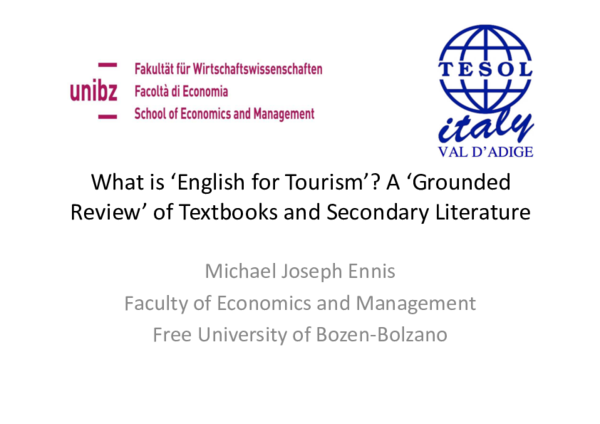 PDF) What is 'English for Tourism'? A 'Grounded Review' of Textbooks