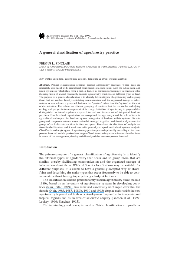 PDF) A general classification of agroforestry practice