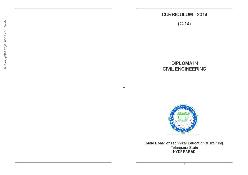 PDF) CURRICULUM – 2014 (C-14) DIPLOMA IN CIVIL ENGINEERING