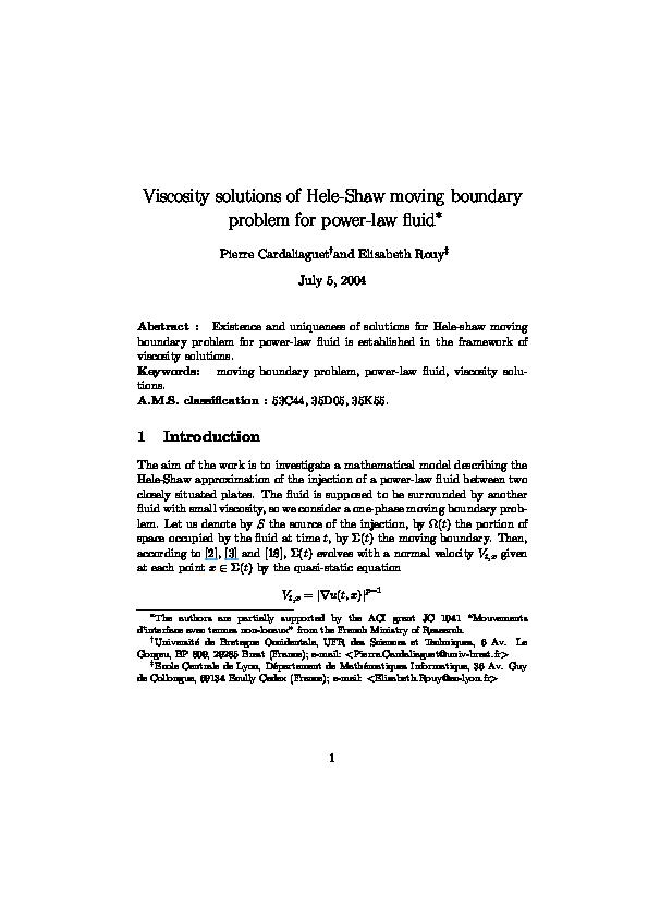 PDF) Viscosity solutions of Hele-Shaw moving boundary