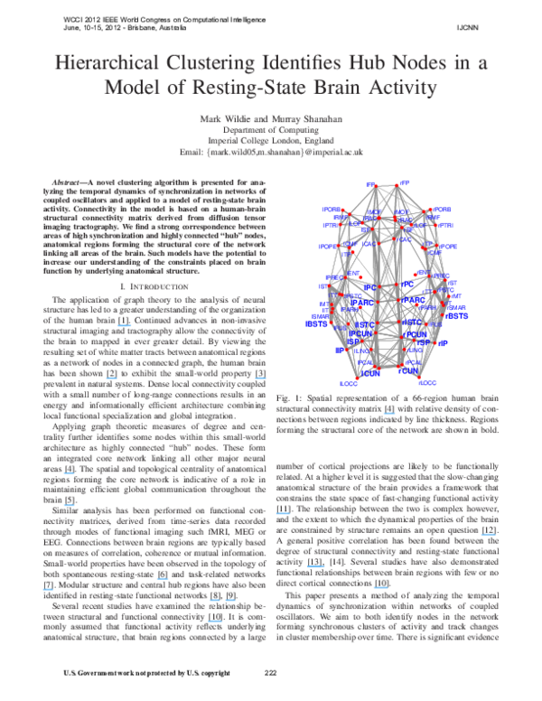 PDF) Hierarchical clustering identifies hub nodes in a model