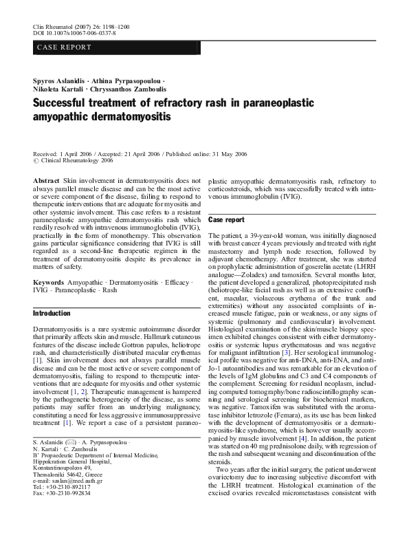 PDF) Successful treatment of refractory rash in