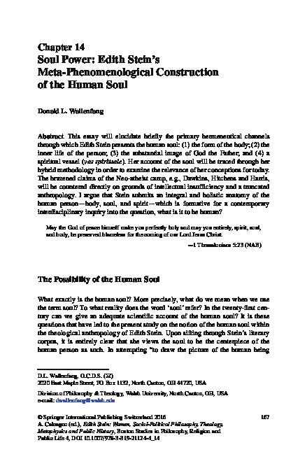 Pdf Soul Power Edith Stein S Meta Phenomenological