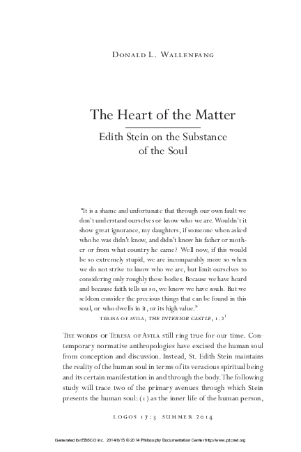 Pdf The Heart Of The Matter Edith Stein On The Substance