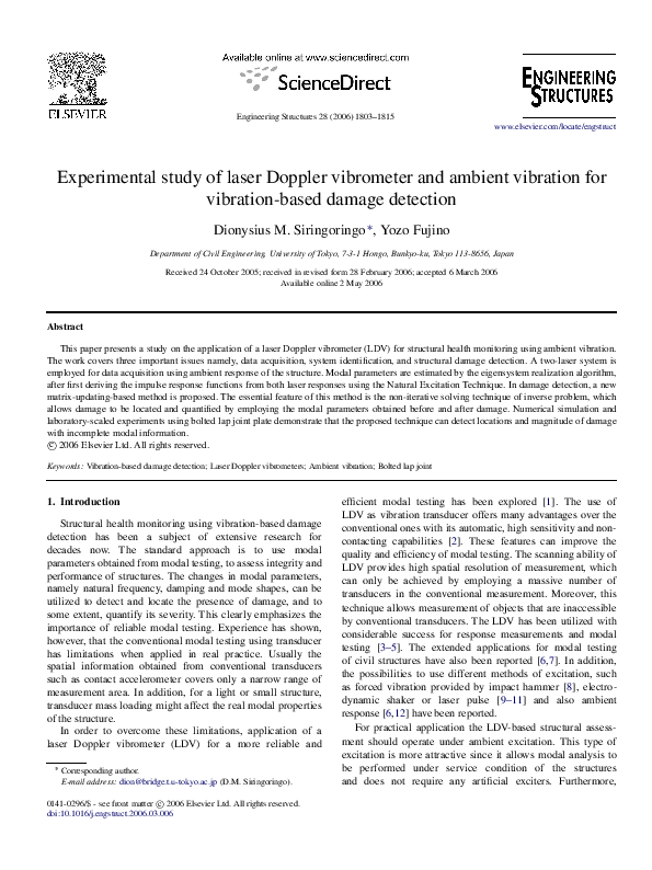 PDF) Experimental study of laser Doppler vibrometer and