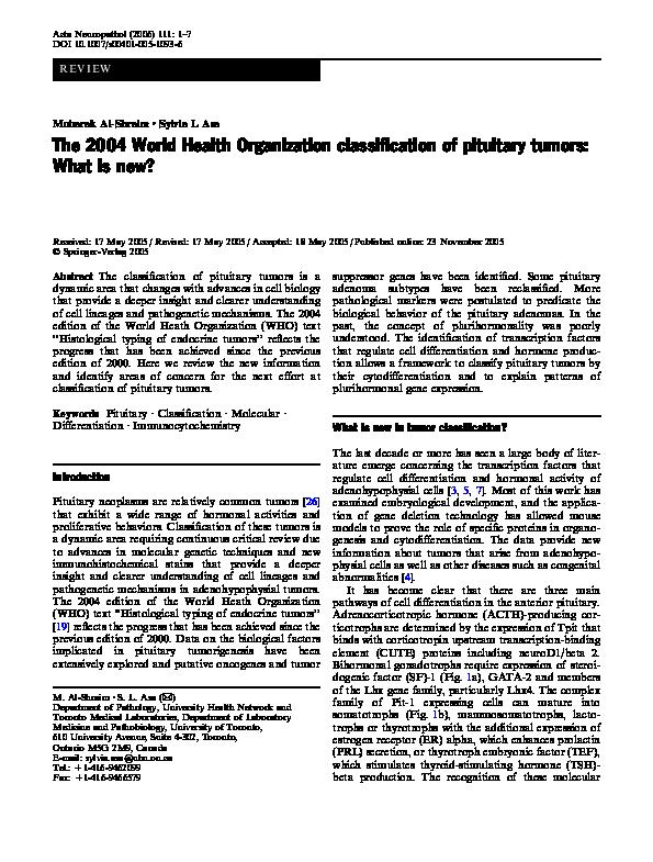 PDF) The 2004 World health organization classification of
