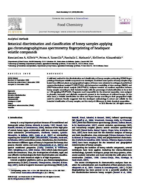PDF) Botanical discrimination and classification of honey