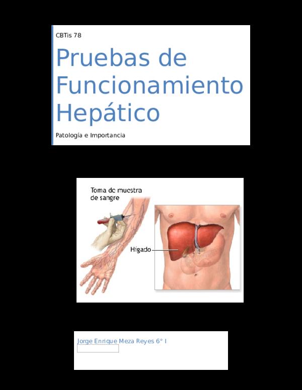 Pruebas de funcionamiento hepatico valores de referencia