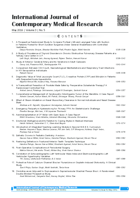 PDF) international journal of contemporary medical research