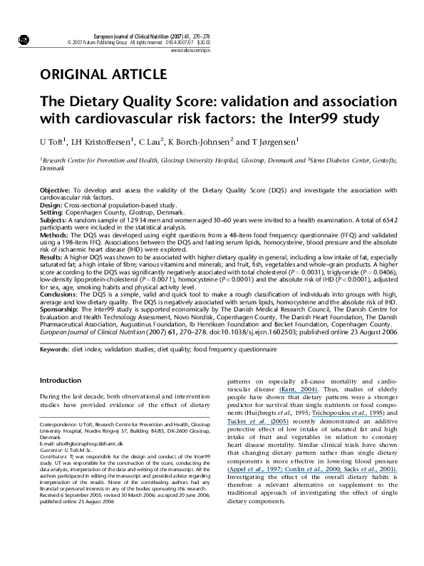 PDF) The Dietary Quality Score: validation and association
