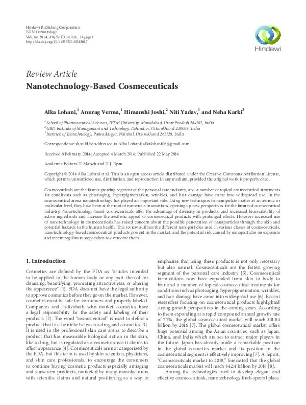 PDF) Nanotechnology-Based Cosmeceuticals | Alka Lohani