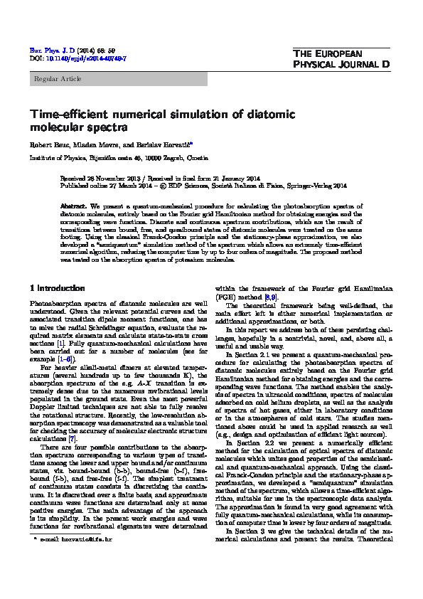 (PDF) Time-efficient numerical simulation of diatomic