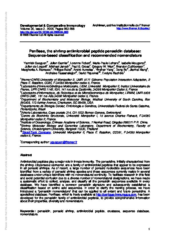 PDF) PenBase, the shrimp antimicrobial peptide penaeidin