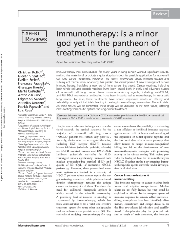 PDF) Immunotherapy: is a minor god yet in the pantheon of