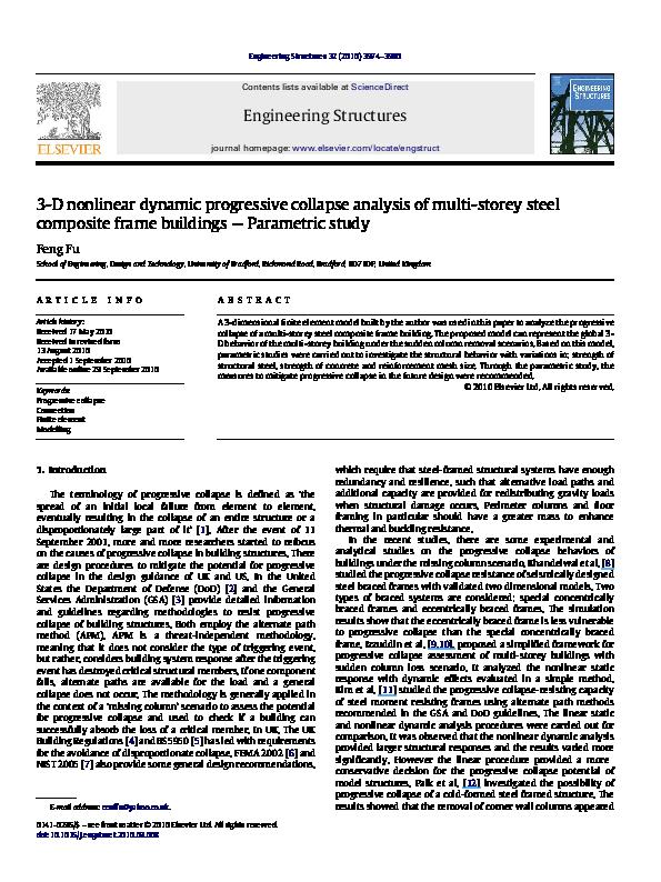 PDF) 3-D nonlinear dynamic progressive collapse analysis of