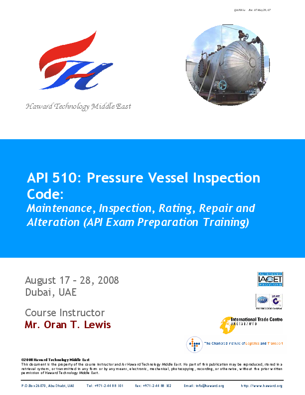 Haward Technology Middle East Api 510 Pressure Vessel Inspection