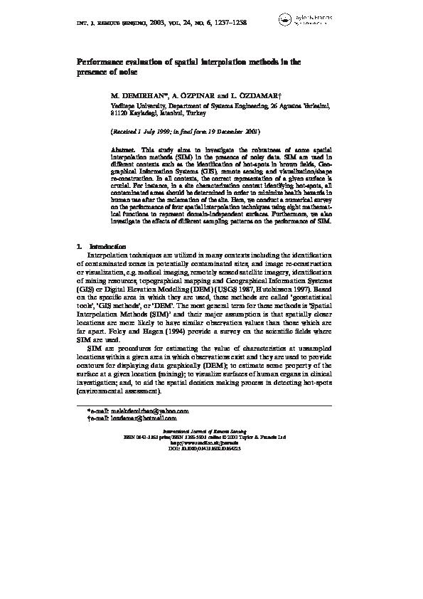 PDF) Performance evaluation of spatial interpolation methods