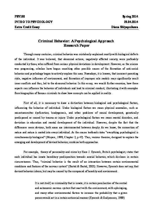 trait theory criminology