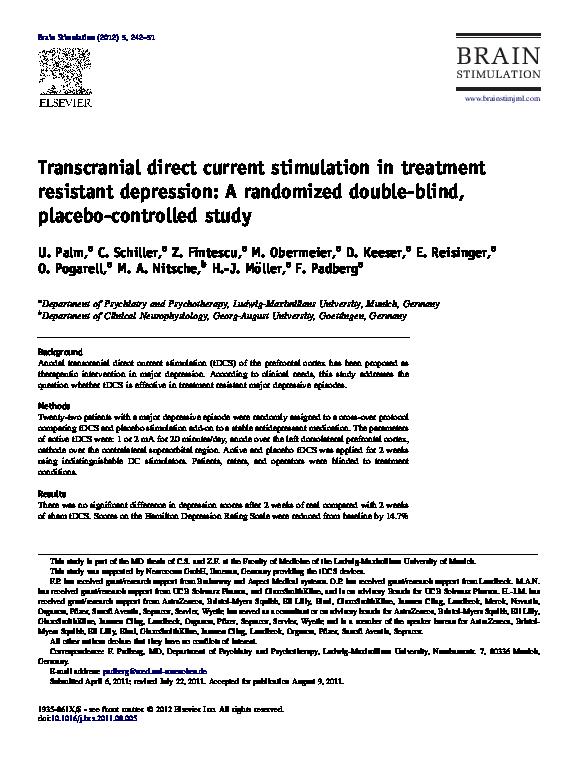 PDF) Evaluation of Sham Transcranial Direct Current