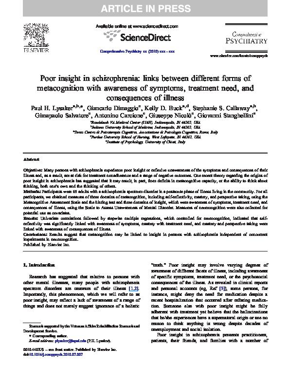 PDF) Poor insight in schizophrenia: links between different