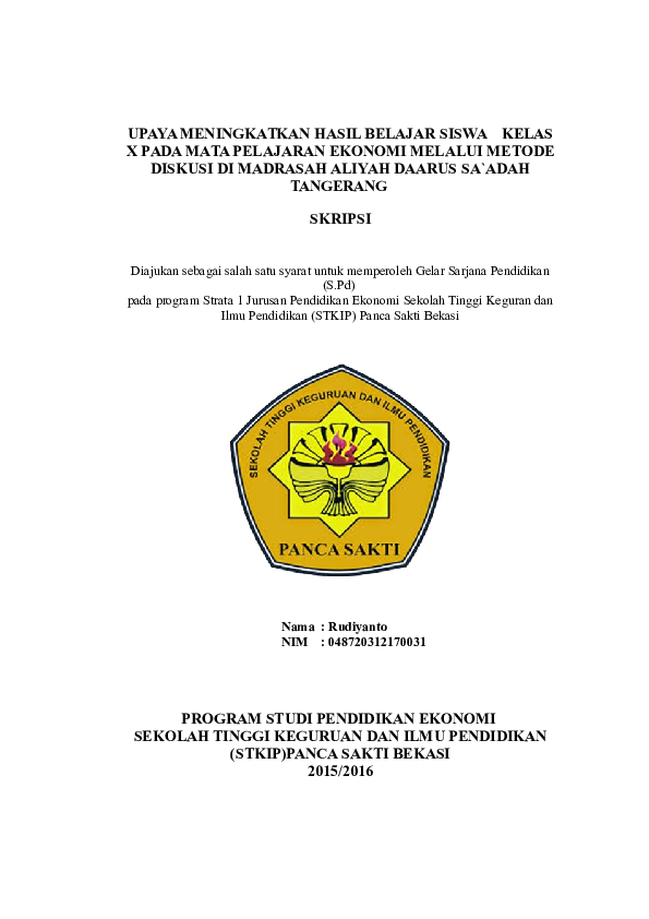 Doc Upaya Meningkatkan Hasil Belajar Siswa Kelas X Pada Mata Pelajaran Ekonomi Melalui Metode Diskusi Di Madrasah Aliyah Daarus Sa Adah Tangerang Skripsi Karvin Erlangga Academia Edu