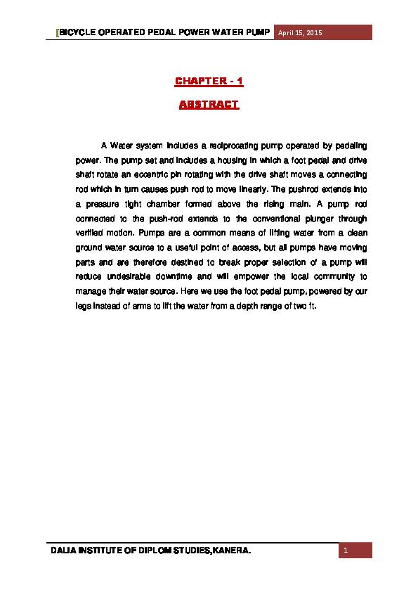 PDF) BICYCLE OPERATED PEDAL POWER WATER PUMP | manthan patel
