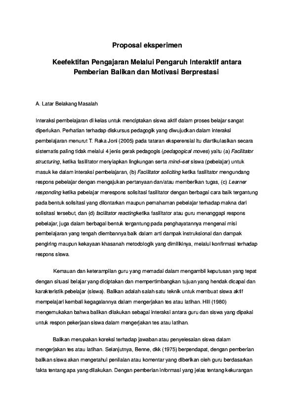 Doc Contoh Proposal Eksperimen Purwo Ismaya Sari Academia Edu