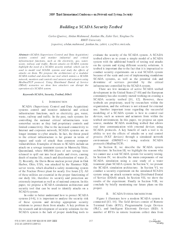 PDF) Building a SCADA Security Testbed | Xinghuo Yu - Academia edu