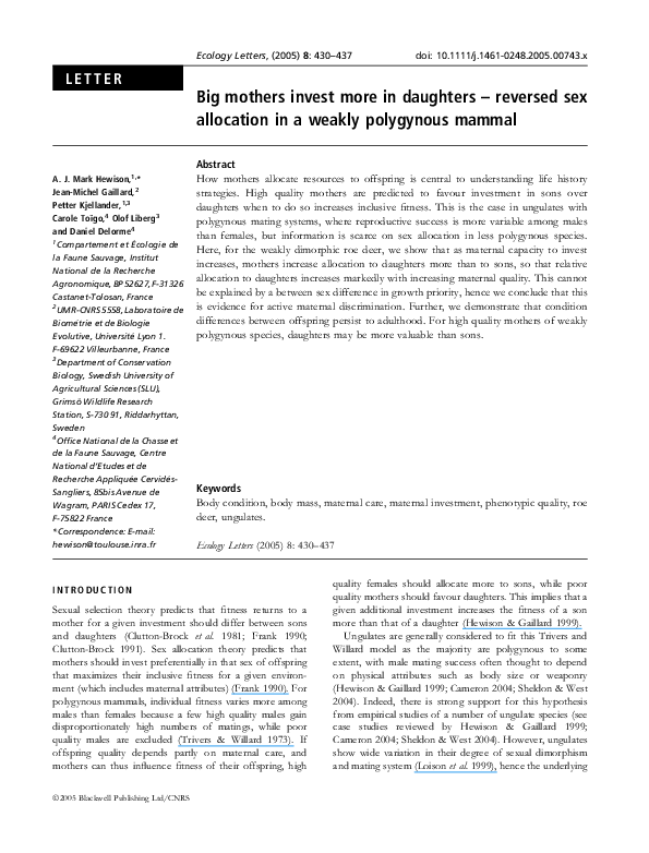 PDF) Big mothers invest more in daughters - reversed sex allocation