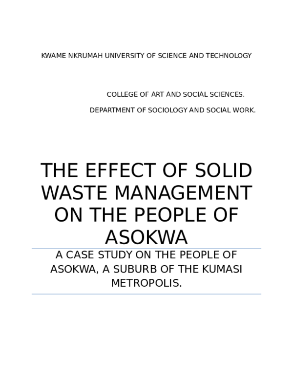 DOC) THE EFFECT OF SOLID WASTE MANAGEMENT ON THE PEOPLE OF ASOKWA A