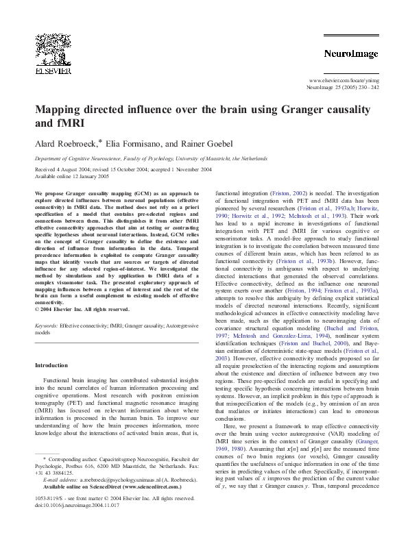 PDF) Mapping directed influence over the brain using Granger