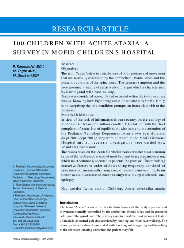 PDF) 100 Children with Acute Ataxia