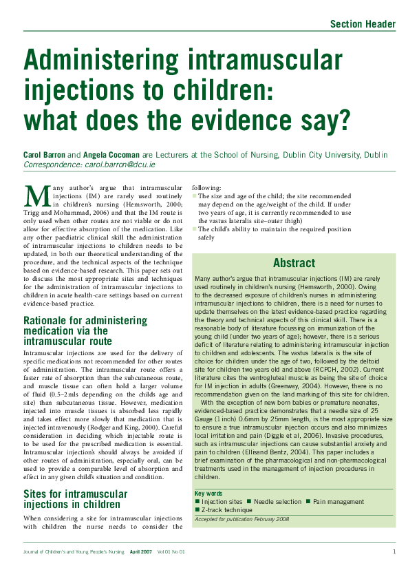PDF) Administering intramuscular injections to children